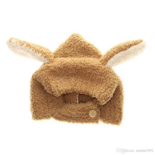 Soft Baby Hat winter Long Ear Bunny Baby Bonnet Cap Coral Fleece Cute Rabbit Kid Hats Beige/Gray for 6-24 Months