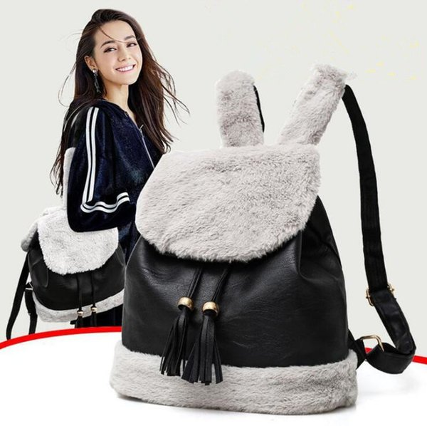 cute rabbit ear backpack girl's fashion color block fur and PU leather material patchwork teenager school bags with tassel Free Shipping
