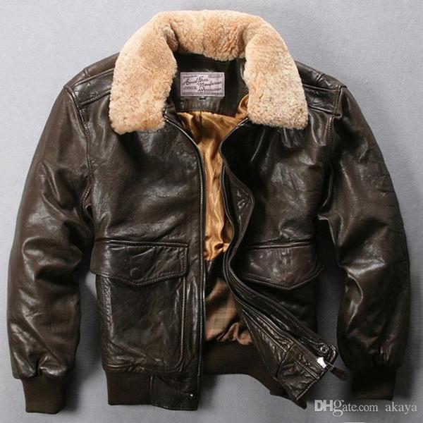 Avirex fly air force flight jacket fur collar genuine leather jacket men black brown heep kin coat winter bomber jacket mal