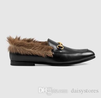 Damen Pelz Frauen Nest Form Gemütliche Hausschuhe Flats Schuhe Schwarz Echtes Leder Branded Cover Toe Loafer Schuhe Niedriger Preis
