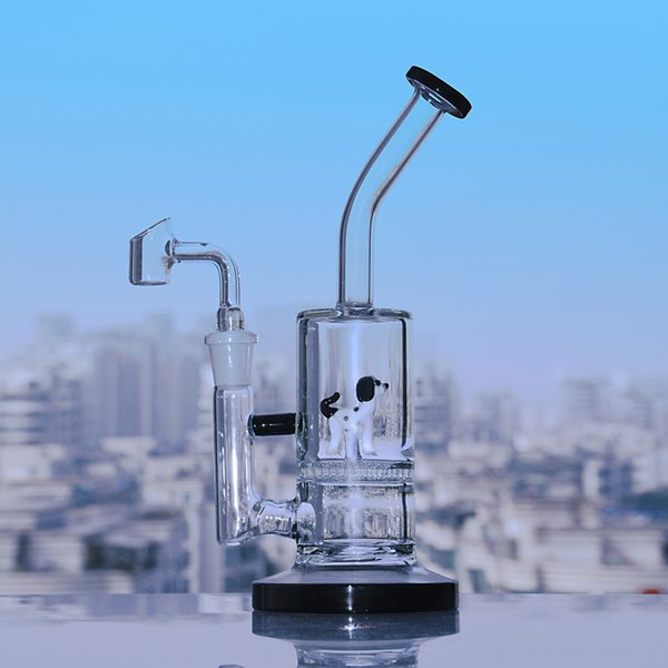 Black Honeycomb Bong dab percolator bongs water pipes oil Rigs with 14mm banger 9.1 inchs small hookahs bong With 14mm banger