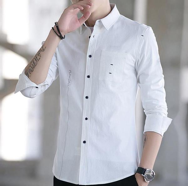 2019 New Design Fashion Spring Mens Shirt Slim Fit Luxury Casual Stylish Dress Shirts Four Colours Plus Sizes M-5XL