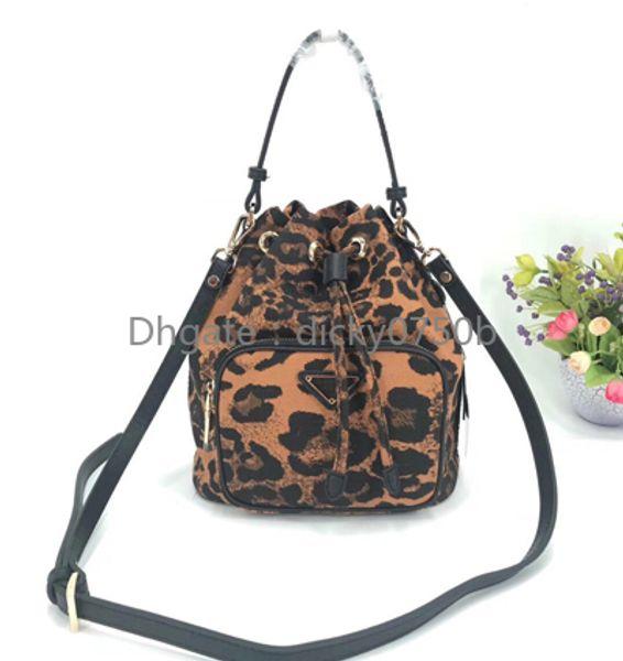 Леопардовый Drawstring сумка для женщин водонепроницаемой холста ведро леди сумка телефона кошелек мода сумка цепь плеча сумка сумка
