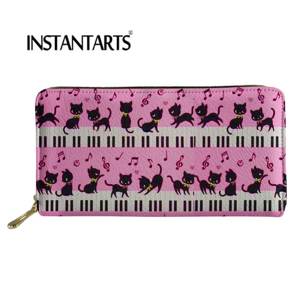 INSTANTARTS Cats With Piano Pattern Cute Women Purse Ladies Long Zipper Wallets Phone Bags Coin Money Organizer For Youth Girls