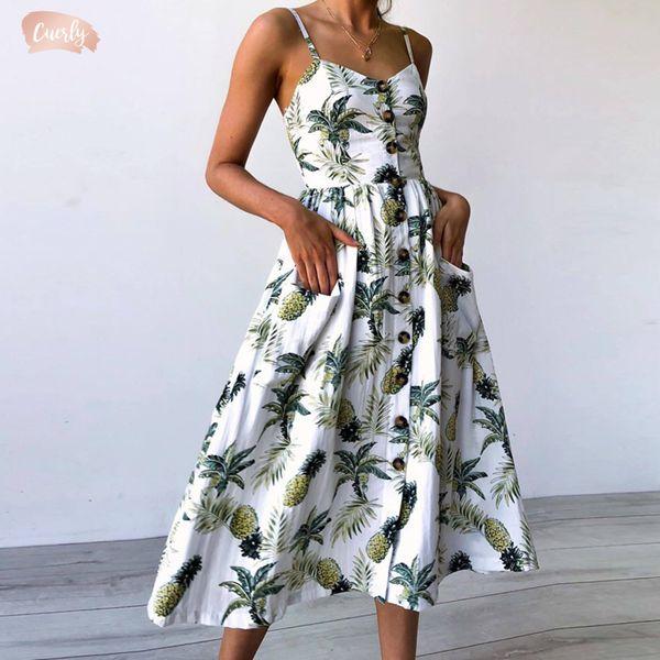 Кнопка V шеи платье Backless Цветочных Summer Beach Sundress Женщина 2019 Белый Boho Sexy Sunflower Daisy партия Midi платье