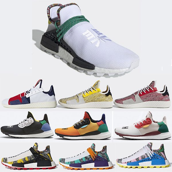 2019 Human Race Running Shoes for Men Women Black White Yellow Solar Pack Pharrell Williams Designer Sneakers Trainers Without Box