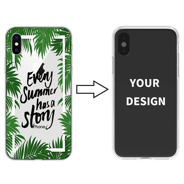 For Samsung S10 S10 Plus Phone Case Custom DIY Photo Tropical Plant Painting Full Cover Transparent Silicone Soft Shell For iPhone Xr Xs max