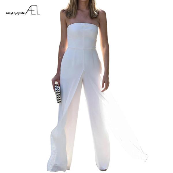 Ael Strapless Bra Chiffon Loose Wide Leg Jumpsuits 2017 Summer Ladies Elegant Slim Bodysuit Top Rompers Fashion Clothing Y19060501