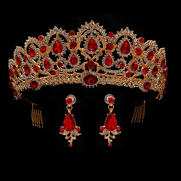 Red Queen crown Crystal bridal Tiaras bride crown and earrings Baroque headband Wedding Accessories diadem hair jewelry ornament D19011005