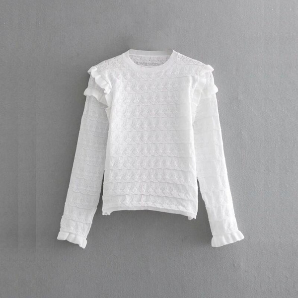 hollow out crocheted knitting women sweater fashion long sleeve pullovers casual lady smock skinny tops SW582