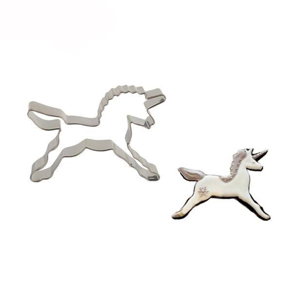 Unicorn Şekli Bisküvi Kurabiye Kesici At Araçları Paslanmaz Çelik Pişirme Kalıp Bakeware Dekorasyon Araçları Pasta Araçları toksik Olmayan Tencere