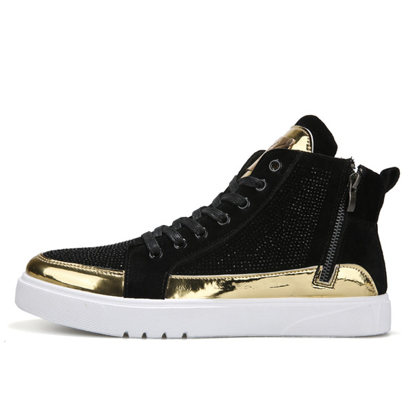 Fashion Sneakers Men PU Leather Shoes High top Male Brand Footwear Men's Casual Shoes Fashion Black Sneakers