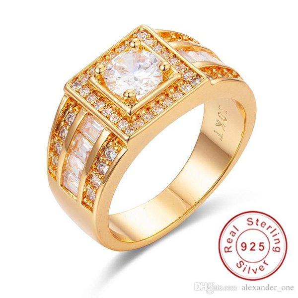 Luxury Jewelry Wedding Rings for Men 10KT gold filled Round cut 1.2ct Simulated Diamond Ring US Size 8-13