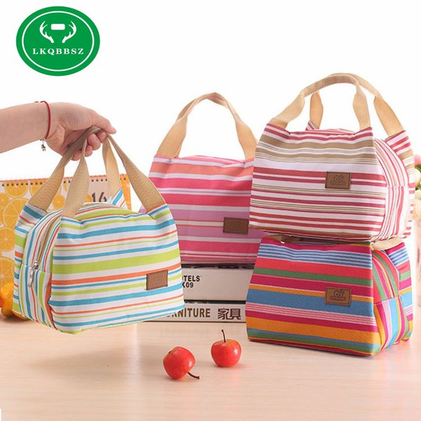 wholesale Insulated Cold Canvas Stripe Picnic Tote Carry Case Hot Sale Girl Thermal Portable Lunch Bag Bolsa Thermal Bread