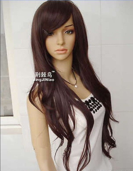 00943 free shipping New Fashion Long Dark Brown Curly Hot Costume Party Hair Full Wig