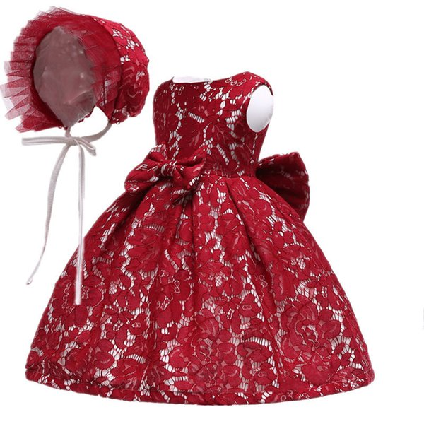 Summer Infant Baby Girl Dress 2 Pcs Hat+lace Flower Princess Dresses For Girls 1st Year Birthday Party Wedding Baby Clothing Y19061001