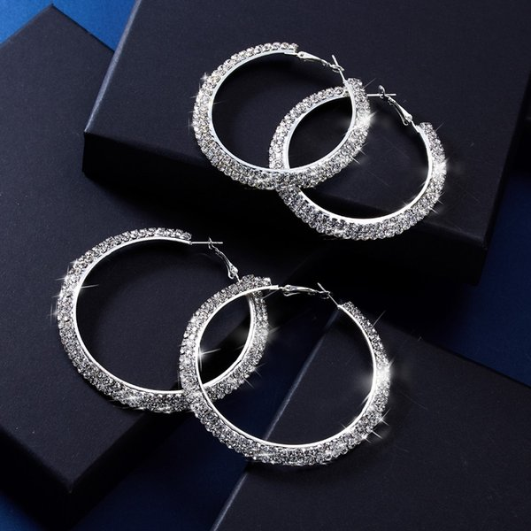 Big Crystal Hoop Earrings Classic Full Rhinestone Circle Earring Silver Color Exaggerated Oversize Earrings for Women Party Gift