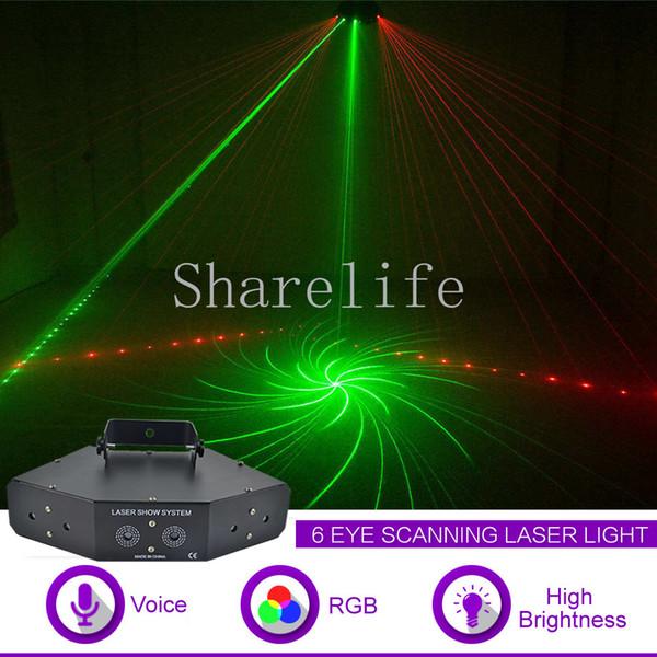 Sharelife 6 Lens RGB Full Color Beam Pattern DMX Laser Scanning Light Home Gig Party DJ Stage Lighting Sound Auto X-Z6F