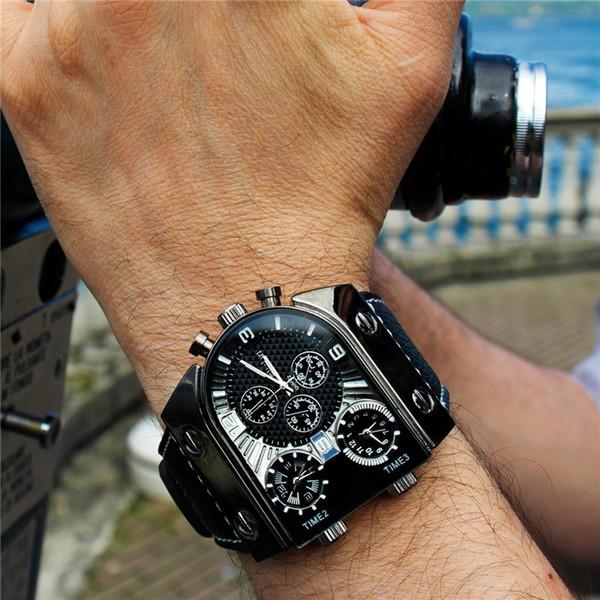 Oulm Часы Мужские Кварцевые Повседневные Кожаный Ремешок Наручные Часы Спорт Multi-Time Zone Мужской Часы erkek saat Dropshipping