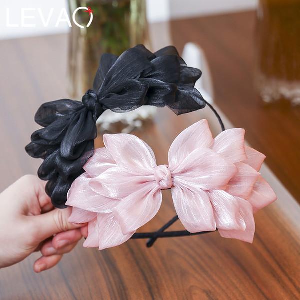 Levao Fita Quente Big Bow Floral Brilhante Faixa de Cabelo Das Mulheres Acessórios Para o Cabelo Hoop Preto Rosa Meninas Flor Laço Arco Cabeça Banda