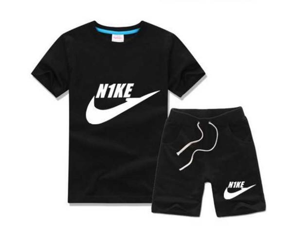 Nouveau Designer Marque Enfants Garçons Filles Sportswear Enfants Manches Courtes Costume Enfants Set Vêtements D'été 2-7T