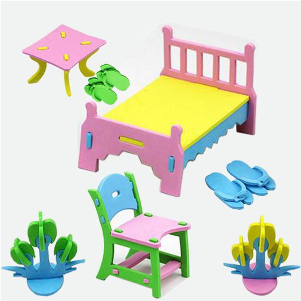 Creativo gioco per bambini 3D mobili per la casa modello eva kit per la casa Incantesimi educativi per bambini fatti a mano per inserire giocattoli di blocchi