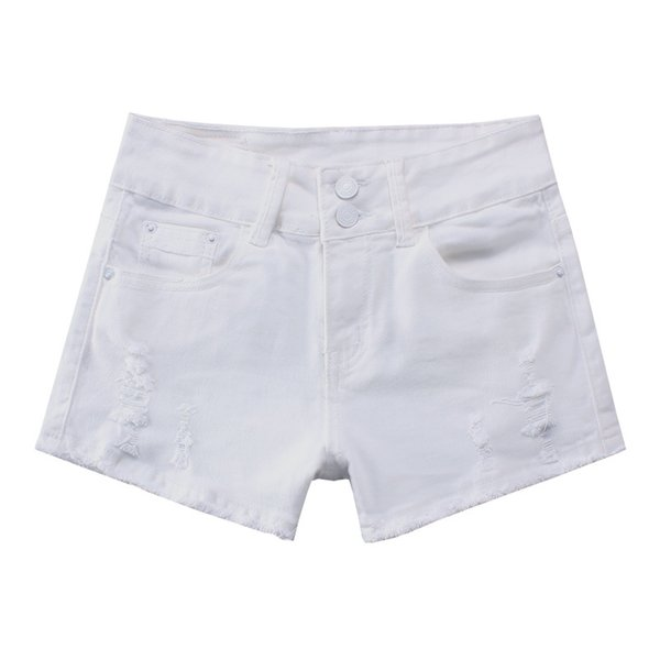 high waist denim shorts size 2xl female short jeans for women 2019 summer ladies solid white all-match cowboy shorts, White;black