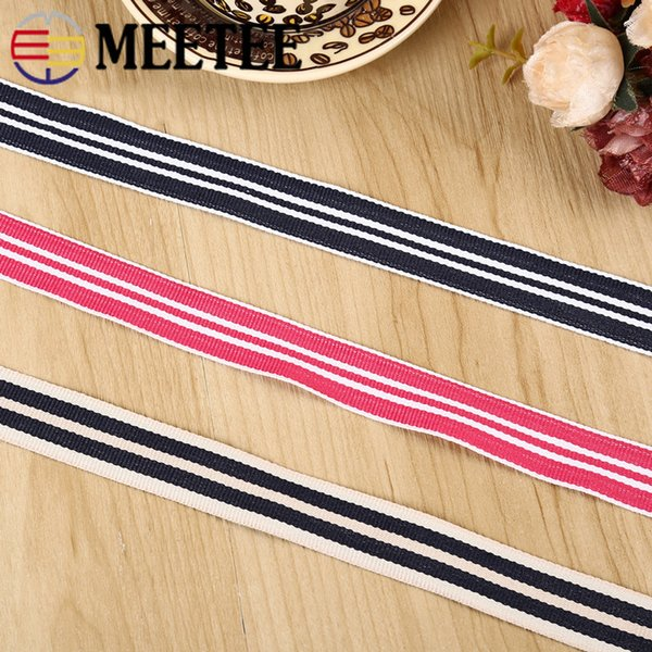 Meetee 2cm Stripe Webbing Ribbon For Bag Backpack Strap Belt Pants Jewelry Clothing Accessories DIY Sewing Decoration Material BD373