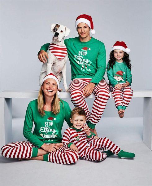 best selling Christmas Family Matching Outfits Pajamas Homewear Sets Merry Christmas Green Shirt+ Red Stripe Long Pants Sleepwear Nightwear