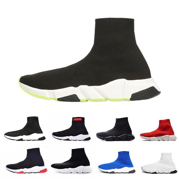 2019 дизайнер носки обувь Мода мужчины женщины кроссовки скорость тренер черный белый синий розовый блеск мужские тренеры повседневная обувь Бегун 36-45 b7