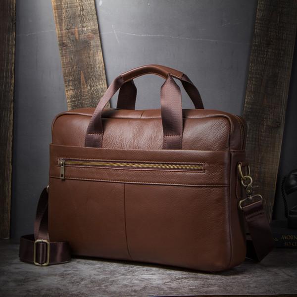 """Vintage men's genuine leather briefcase Business Men briefcase for 14"""" laptop Cow Leather Men shoulder bag Soild Brown handbag"""