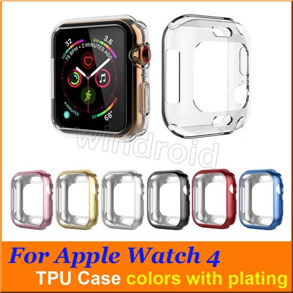 40 millimetri 44 millimetri ultra sottile trasparente trasparente trasparente in TPU di gomma flessibile placcatura custodia protettiva per Apple Watch iWatch Series 4