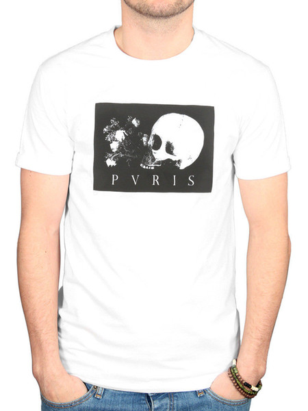 Official Pvris Skull Flowers T-Shirt White Noise Hand Tunnel Heaven Hell Rock Funny free shipping Unisex Casual gift