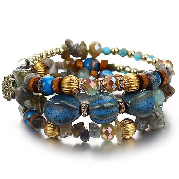 Cadena de Nueva-LILU Natural Metal Piedra encanto brazaletes para las mujeres Joyería Bohemia Multilayer Blue Bead de los hombres de la pulsera de Pulsera