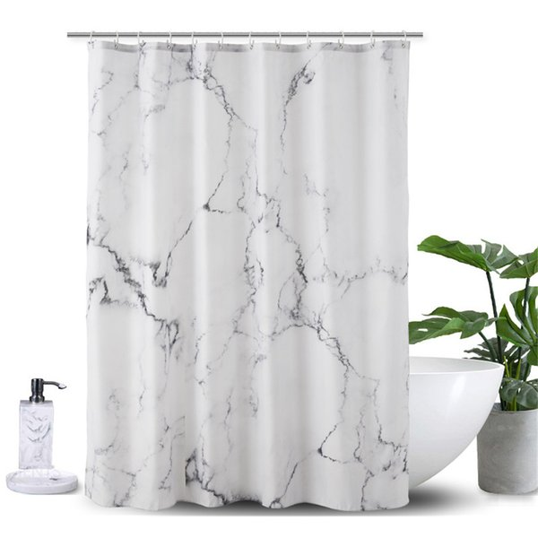 Marble Printed 3D Shower Curtain Waterproof Polyester Bath Screens Curtains Grey and White Plastic Hooks Bathroom Decoration