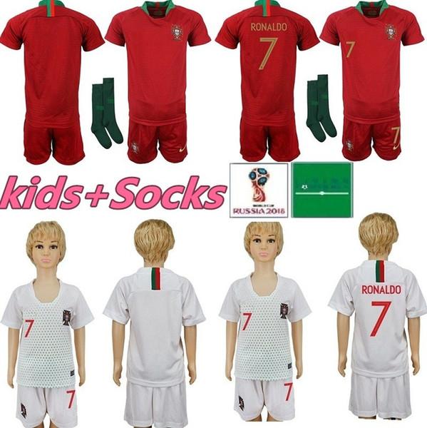 Kit para niños Camisetas de fútbol de Portugal 7 RONALDO chico joven Niño 9 EDER 10 J.MARIO 3 PEPE 8 J.MOUTINHO Jersey de casa