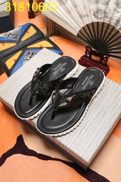 Men's Sandals Printing And Perfect Quality Original Design Shoes Genuine Leather And Anti-skidding Flip Flops best feel