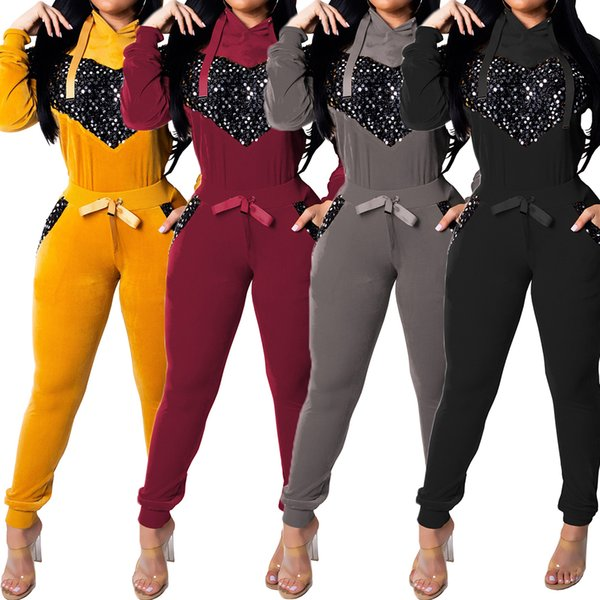 Autumn Women Two Piece Set Long Sleeve Velvet Sequin Tops and Pant Suit Casual Outfits 2 Piece Matching Sets Velet Tracksuits