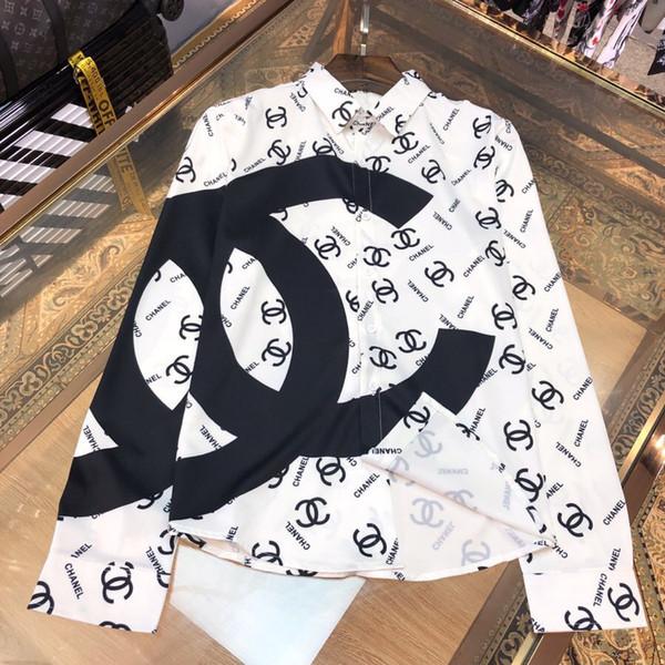 Men's Shirt 2019 Autumn New Fashion Trend Print Long Sleeve Slim Fashion Wild Shirt Tide SIZE M-3XL Men's Casual Shirt