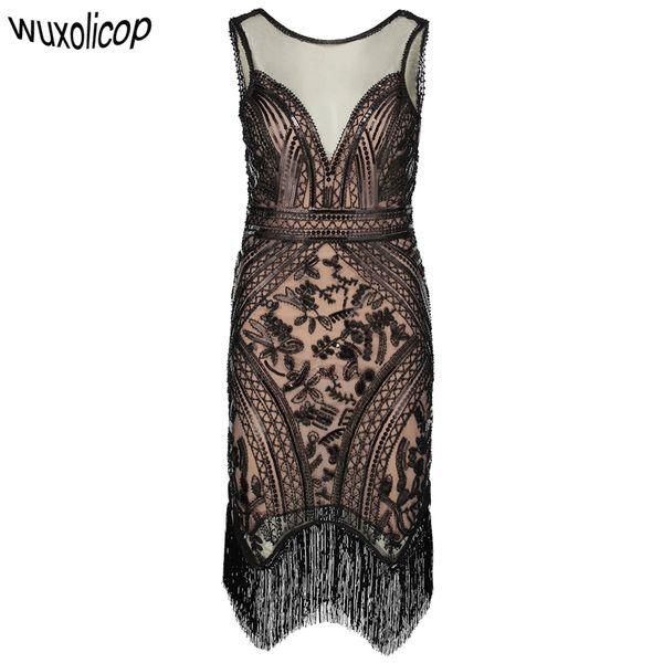 Retro 1920s Gatsby Charleston Dress V Neck Sleeveless Sequin Fringe Art Deco Women Flapper Dress Ganster Party Costumes