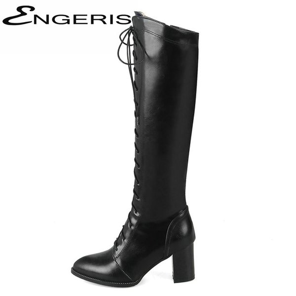 ENGERIS Black PU Leather Pointed Toe High Heel Martin Boots Brown Chunky Heel Lace Up Knee High Boots Ladies Winter Shoes