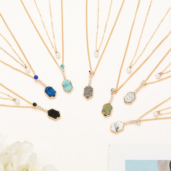 Boho Геометрические кристалл Ожерелье Для Женщин Колье Классический Цепи Многослойные Шинни Ожерелья Ювелирные Изделия Оптом
