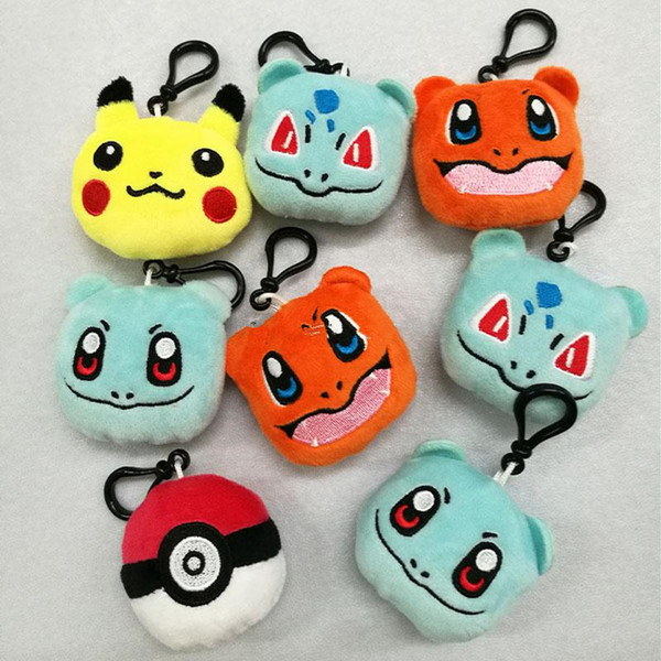 top popular Animals Plush Toys P ikachu Cartoon Stuffed Dolls With Key Ring Keychain PP Cotton Bag Pendants 9 Styles 2020