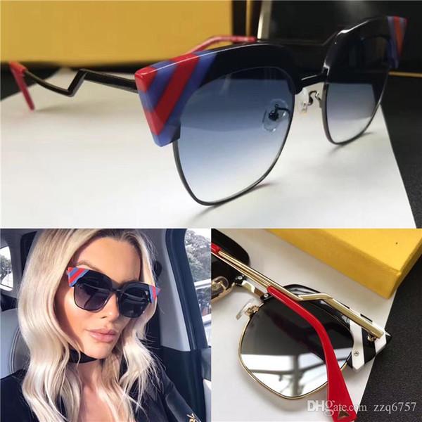 Les nouvelles femmes de mode lunettes de soleil de marque F 0241 oeil de chat demi-cadre petit triangle Splicing couleur style été en plein air de qualité supérieure lentille uv