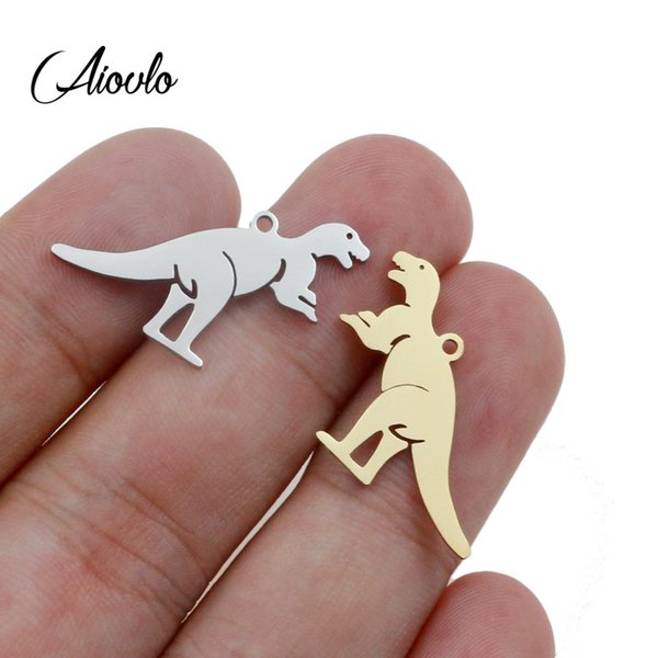Aiovlo 5pcs/lot Stainless Steel Gold Dinosaur Pendant Charms for DIY Animal Necklace Findings Crafts Jewelry Making Floating