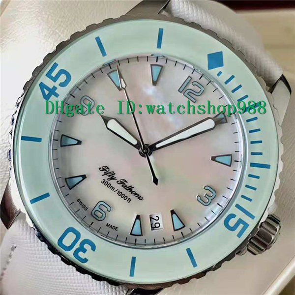 luxury women watches FIFTY FATHOMS 5015-1127-52 Watch Swiss Cal.1315 Automatic Arc crystal bezel Mother-of-pearl Dial Super Water Resistant