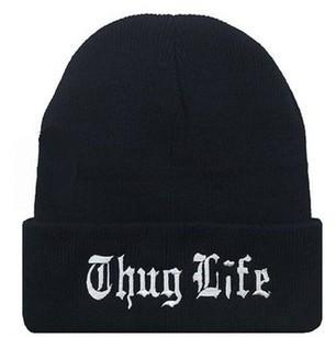 Wholesale Black Letter Hat for Men THUG LIFE Knitted Hats Male Female Winter Sport Skullies Women Casual Caps K2732