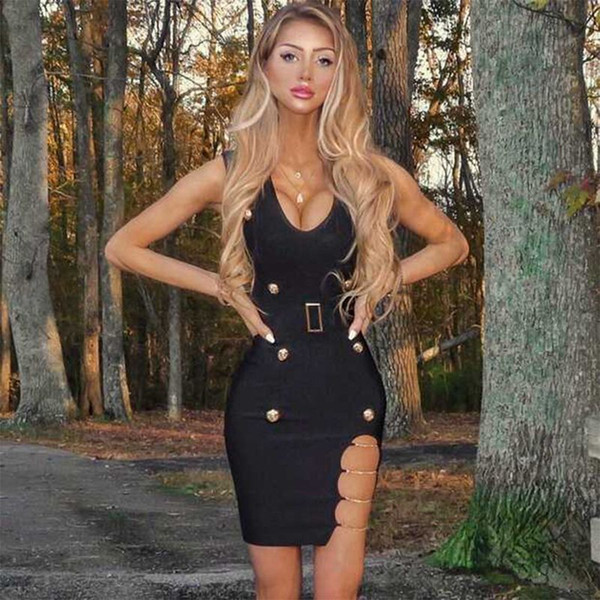 Ocstrade Black V-Ausschnitt ärmelloses One Piece Metal Nietengürtel Party Bandage Dress PM0403-Black