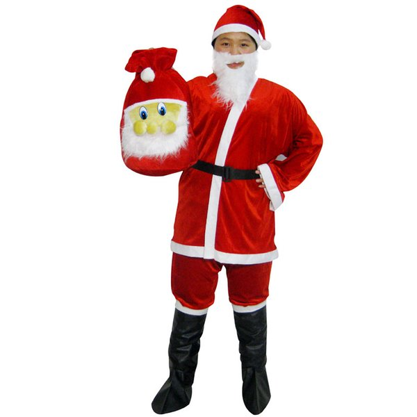 Christmas Costume Santa Claus Children Suit Adult Christmas Eve Mens Santa Claus Costume Plush Father Fancy Clothes Xmas Cosplay For Kids