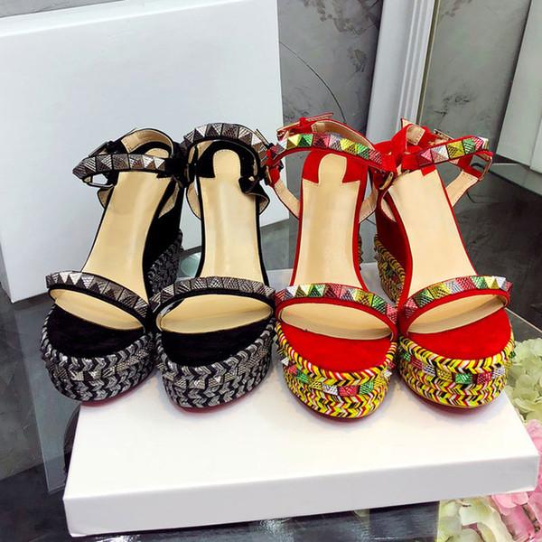 Sexy Platform Sandals Women Open Toe Rivet Mixed Color Wedges Shoes For Women Runway High Heels